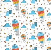 Abstract hot air balloon in the sky seamless pattern stock illustration