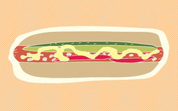 Abstract Hot Dog. Doodle over orange background Stock Images