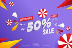 Abstract Hot Summer Sale 50% Discount Vector Background Illustration. Abstract Hot Summer Sale 50% Discount Vector Background Flat Illustration Royalty Free Stock Image