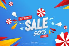 Abstract Hot Summer Sale 50% Discount Vector Background Illustration. Abstract Hot Summer Sale 50% Discount Vector Background Flat Illustration stock illustration