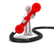 Abstract hotline. Man and Red telephone (done in 3d Royalty Free Stock Images