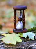 Abstract hourglass on oak leafs Stock Photography