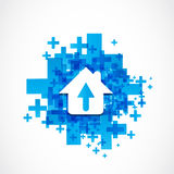 Abstract house arrow icon concept. Background royalty free illustration
