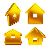 Abstract house from different angles. Abstract golden house at different angles on a white background Royalty Free Stock Photography