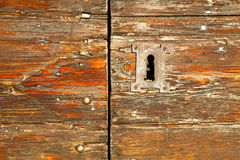 abstract  house  door     in italy  lombardy   red   closed  nai Royalty Free Stock Image