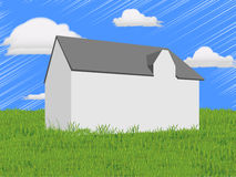 Abstract house on a green lawn. An illustrated house in the middle of a lush green lawn Stock Image