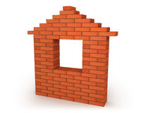 Abstract house made from orange bricks Stock Photos