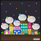 Abstract house in the night infographics Royalty Free Stock Photography