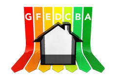 Abstract House over Energy Efficiency Rating Chart. 3d Rendering. Abstract House over Energy Efficiency Rating Chart on a white background. 3d Rendering Stock Illustration