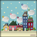 Abstract house in the winter infographics. Vector illustration house in the winter abstract infographic elements Vector Illustration