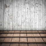 Abstract houten binnenland met witte muur Royalty-vrije Stock Afbeeldingen