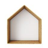 Abstract houten die kader van huis, op witte achtergrond wordt geïsoleerd Royalty-vrije Stock Foto