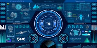 Abstract HUD elements for UI UX design. Sci-Fi. Abstract HUD elements for UI UX design. Futuristic Sci-Fi user Interface for app space,dashboard, hologram vector illustration