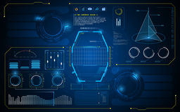 Abstract HUD-van het de innovatieconceptontwerp van de interfaceui toekomstig virtueel kunstmatige intelligentie malplaatje als a Stock Foto's