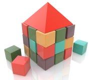 Abstract huis dat van 3d kinderenblokken wordt gemaakt Stock Afbeelding