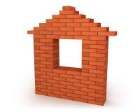 Abstract huis dat van oranje bakstenen wordt gemaakt Stock Foto's