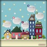 Abstract huis in de winterinfographics Royalty-vrije Stock Afbeelding