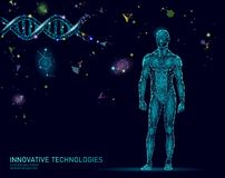 Abstract human body anatomy. DNA engineering science innovation superman technology. Genome health research cloning. Medicine low poly 3D render polygonal vector illustration