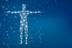 Abstract human body with molecules DNA. Medicine, science and technology   Royalty Free Stock Photo
