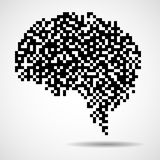Abstract human brain of pixels. Vector logo Stock Photo