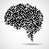 Abstract human brain of pixels. Vector logo Vector Illustration