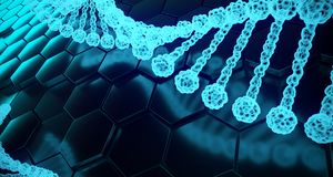 Abstract Human Dna Detailed Structures On Hexagon Background. 3D. Abstract Human Dna Detailed Structures On Hexagon Background With Reflection. 3D Rendering royalty free illustration