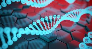 Abstract Human Dna Detailed Structures On Hexagon Background. 3D. Abstract Human Dna Detailed Structures On Hexagon Background With Reflection. 3D Rendering vector illustration