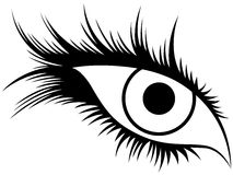 Abstract human eye with long lashes. Abstract black silhouette of human eye with long lashes, hand drawing vector illustration Royalty Free Stock Photo