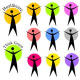 Abstract Human Figure Logos or Icons. A clip art illustration featuring your choice of 9 human figure logos or icons in a variety of colours, and 2 completed Stock Photo