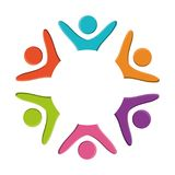 Abstract human figures design. Abstract human figures in circle shape colorful design vector illustration Stock Photos