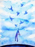 Abstract human flying birds spiritual mind in blue cloud sky. Illustration watercolor painting design hand drawn vector illustration