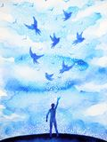 Abstract human flying birds spiritual mind in blue cloud sky. Illustration watercolor painting design hand drawn royalty free illustration