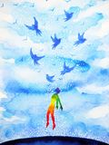 Abstract human flying birds spiritual mind in blue cloud sky. Illustration watercolor painting design hand drawn stock illustration