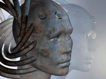 Abstract human head. Metal human head - 3d render Royalty Free Stock Photography