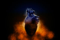 Abstract human heart in a smoke on a black background. 3D illustration Stock Images