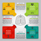 Abstract human lung from dots and lines. Set of colorful infogra Stock Image