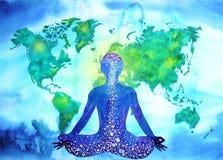 Abstract human meditator chakra universe power world map background. Design blue green watercolor painting Stock Photo