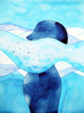 Abstract human sink in the air breathe head watercolor painting. Illustration design Stock Images