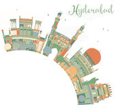 Abstract Hyderabad Skyline with Color Landmarks and Copy Space. Royalty Free Stock Photography