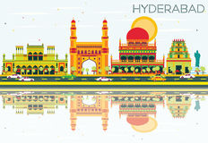 Abstract Hyderabad Skyline with Color Landmarks and Reflections. Royalty Free Stock Images