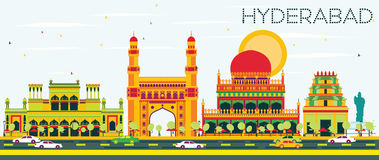 Abstract Hyderabad Skyline with Color Landmarks. Royalty Free Stock Photography