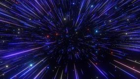 Abstract hyperspace background. Speed of light, neon glowing rays and stars in motion. Dark blue version. Moving through stars. 4k