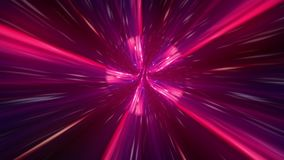 Abstract hyperspace background. Speed of light, neon glowing rays and stars in motion. Moving through stars. 4k Seamless loop