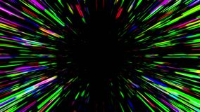 Abstract hyperspace tunnel. Abstract multicolored hyperspace tunnel on black background. 3D animation, seamless loop stock video footage