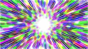 Abstract hyperspace tunnel. Abstract multicolored hyperspace tunnel on white background. 3D animation, seamless loop stock video footage