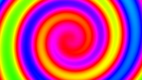 Abstract hypnoptic psychedelic rainbow colored swirl spiral optical illusion tunnel - 4K loopable