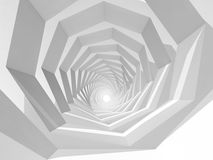 Abstract hypnotic cg background, 3d tunnel. Abstract hypnotic cg background with empty white swirl tunnel interior perspective, 3d illustration Royalty Free Stock Images