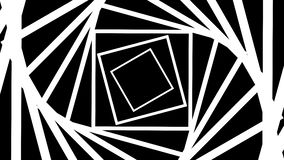 Abstract hypnotic optical illusion rotating squares tunnel, black and white mask, loopable