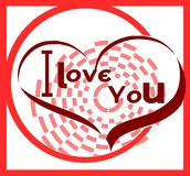 Abstract I love you background in red tones. Illustration usable on project about Love or Saint Valetines time with three hearts with the words I love you Royalty Free Stock Image