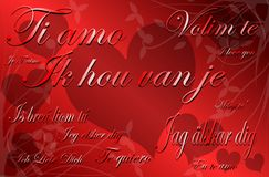 Abstract I love you background in red tones. Illustration usable on project about Love or Saint Valetine's time with three hearts with the words I love you stock illustration